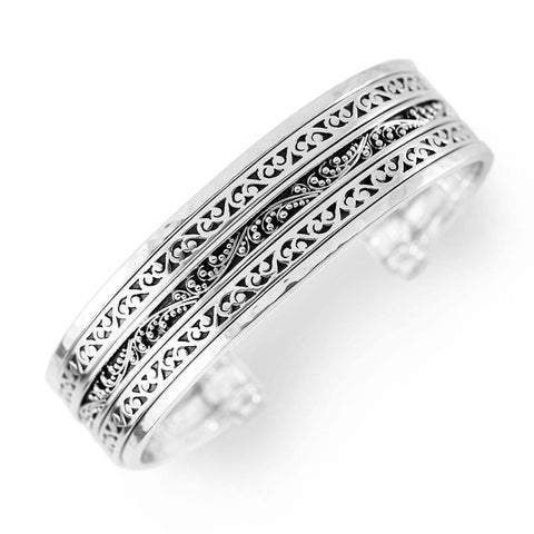 Sterling Silver Classic Carved Scroll & Granulated Stacked Cuff - BB6715-00347-Lois Hill-Renee Taylor Gallery
