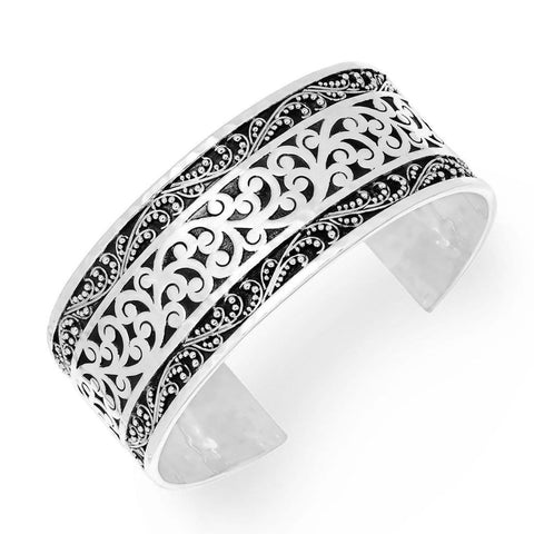 Sterling Silver Classic Medium Carved Scroll Cuff - BB6730-00318-Lois Hill-Renee Taylor Gallery