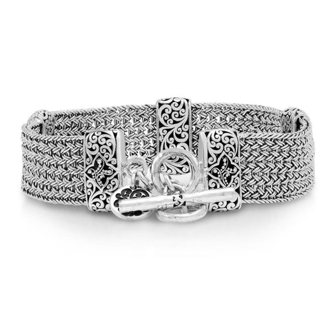 Sterling Silver Classic Medium Textile Weave Bracelet - BC8054-00455-Lois Hill-Renee Taylor Gallery