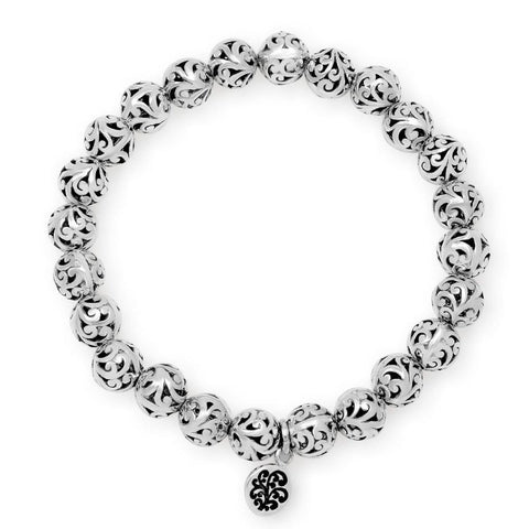 Sterling Silver Classic Carved Scroll Beaded Bracelet - BC9421-00138-Lois Hill-Renee Taylor Gallery