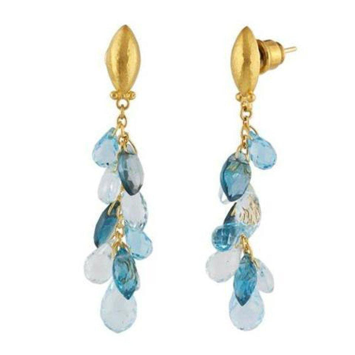 Delicate Hue 24K Gold Topaz Aquamarine Earrings - BE-BT-CLS-NV-GURHAN-Renee Taylor Gallery