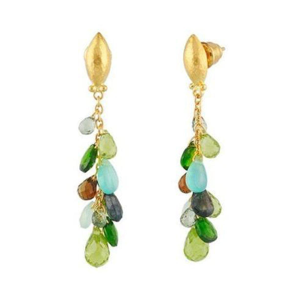 Delicate Hue 24K Gold Multi Stone Earrings - BE-GR-CLS-NV-GURHAN-Renee Taylor Gallery