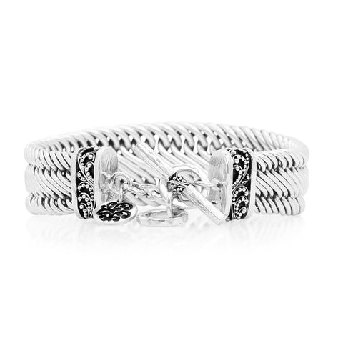 Sterling Silver Classic Tapered Figure-8 Weave Bracelet - BG3035-00250-Lois Hill-Renee Taylor Gallery