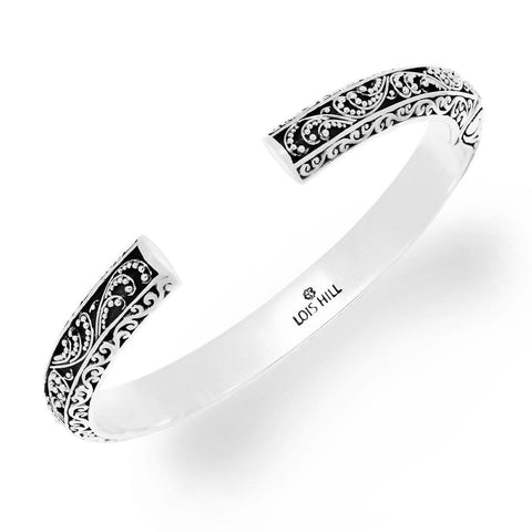 Sterling Silver Classic Small Granulated Cuff - BG6533-00247-Lois Hill-Renee Taylor Gallery
