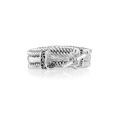 Sterling Silver Classic Tapered Figure-8 Weave Bracelet - BG6534-00247-Lois Hill-Renee Taylor Gallery