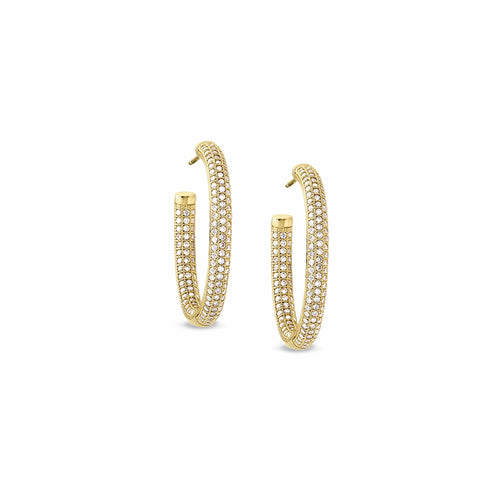 Gold Vermeil Finish Sterling Silver Micropave Earrings - BL2008EG-Kelly Waters-Renee Taylor Gallery