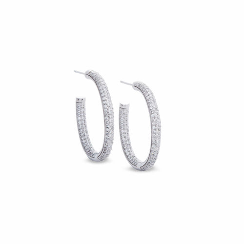 Platinum Finish Sterling Silver Micropave Earrings - BL2008E-Kelly Waters-Renee Taylor Gallery