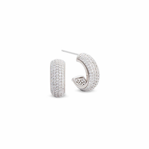 Platinum Finish Sterling Silver Five Row Micropave Earrings - BL2026E-D-Kelly Waters-Renee Taylor Gallery