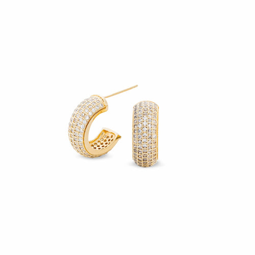 Gold Vermeil Finish Sterling Silver Five Row Micropave Earrings - BL2026EG-D-Kelly Waters-Renee Taylor Gallery