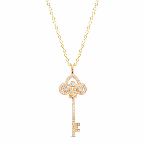 Gold Vermeil Finish Sterling Silver Micropave Key Pendant - BL2069NG-D-Kelly Waters-Renee Taylor Gallery