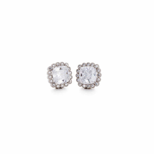 Platinum Finish Sterling Silver Cushion Cut Earrings - BL2141E-Kelly Waters-Renee Taylor Gallery