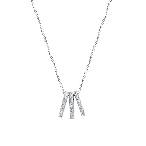 Platinum Finish Sterling Silver Micropave 3 Bar Vertical Pendant - BL2157N-Kelly Waters-Renee Taylor Gallery