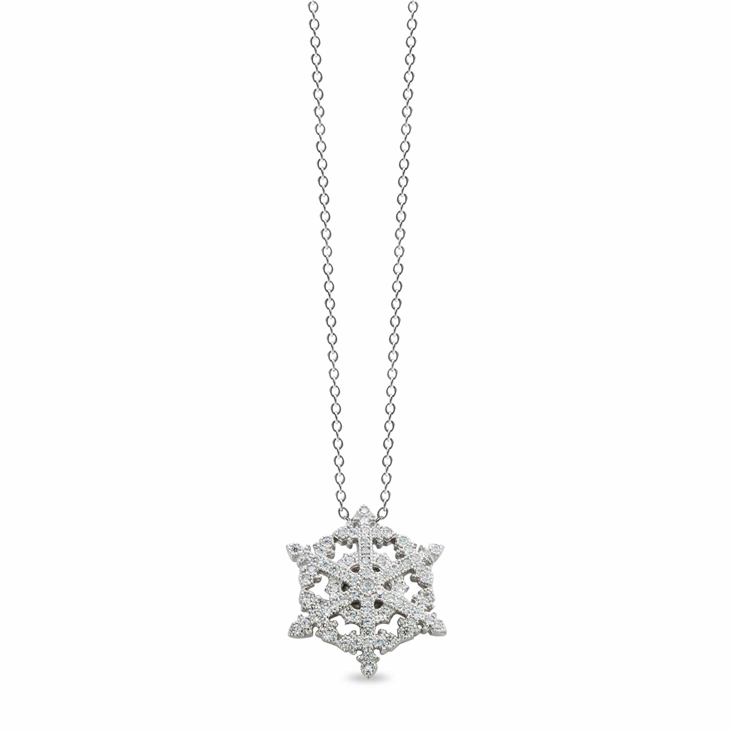 Platinum Finish Sterling Silver Micropave Snowflake Pendant - BL2158N-Kelly Waters-Renee Taylor Gallery
