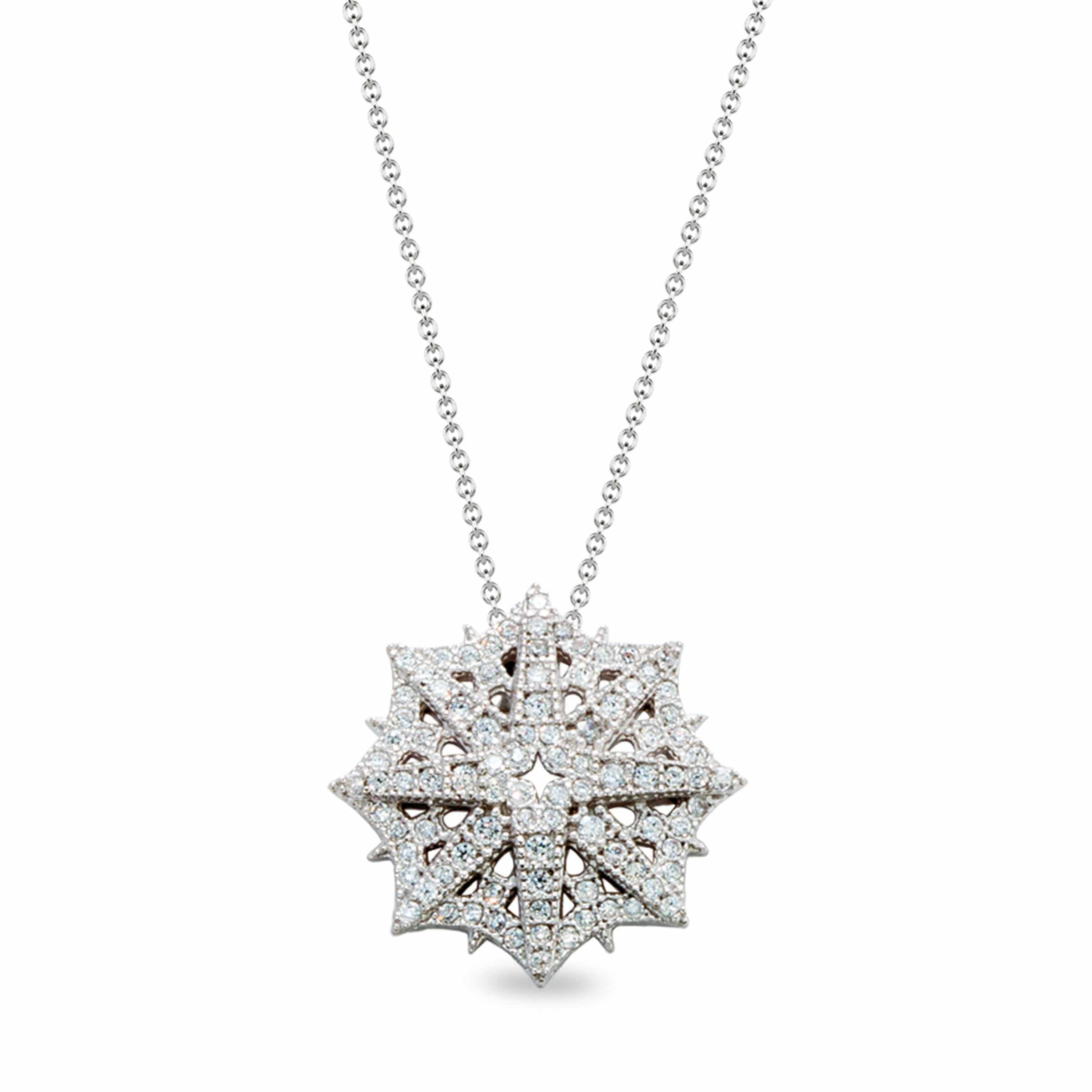 Platinum Finish Sterling Silver Micropave Star Shaped Snowflake Pendant  - BL2159N-D
