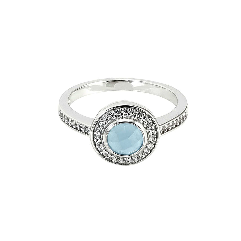 Platinum Finish Sterling Silver Micropave Blue Chalcedony Ring - BL2195R-Kelly Waters-Renee Taylor Gallery