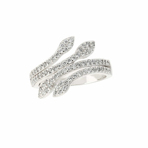 Platinum Finish Sterling Silver Micropave Leaf Ring - BL2199R-Kelly Waters-Renee Taylor Gallery