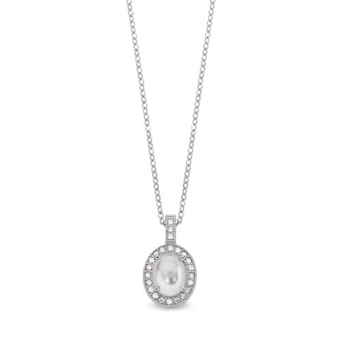Platinum Finish Sterling Silver Micropave Pearl Pendant - BL2202N-Kelly Waters-Renee Taylor Gallery