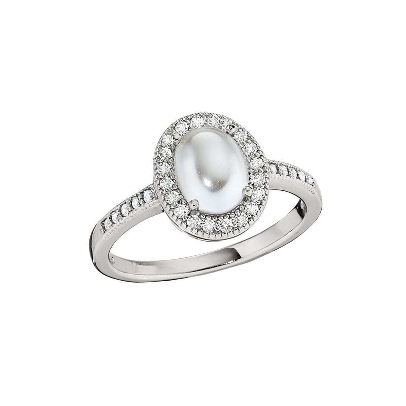 Platinum Finish Sterling Silver Micropave Pearl Ring - BL2202R-Kelly Waters-Renee Taylor Gallery