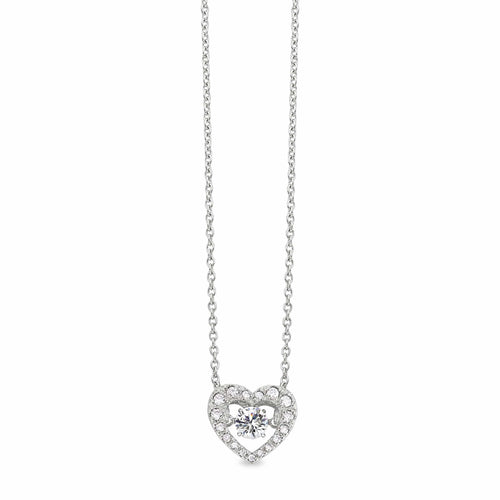 Platinum Finish Sterling Silver Micropave Dancing Stone Heart Necklace - BL2216N-Kelly Waters-Renee Taylor Gallery