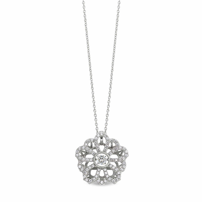 Platinum Finish Sterling Silver Micropave Dancing Stone Flower Pendant - BL2222N-Kelly Waters-Renee Taylor Gallery