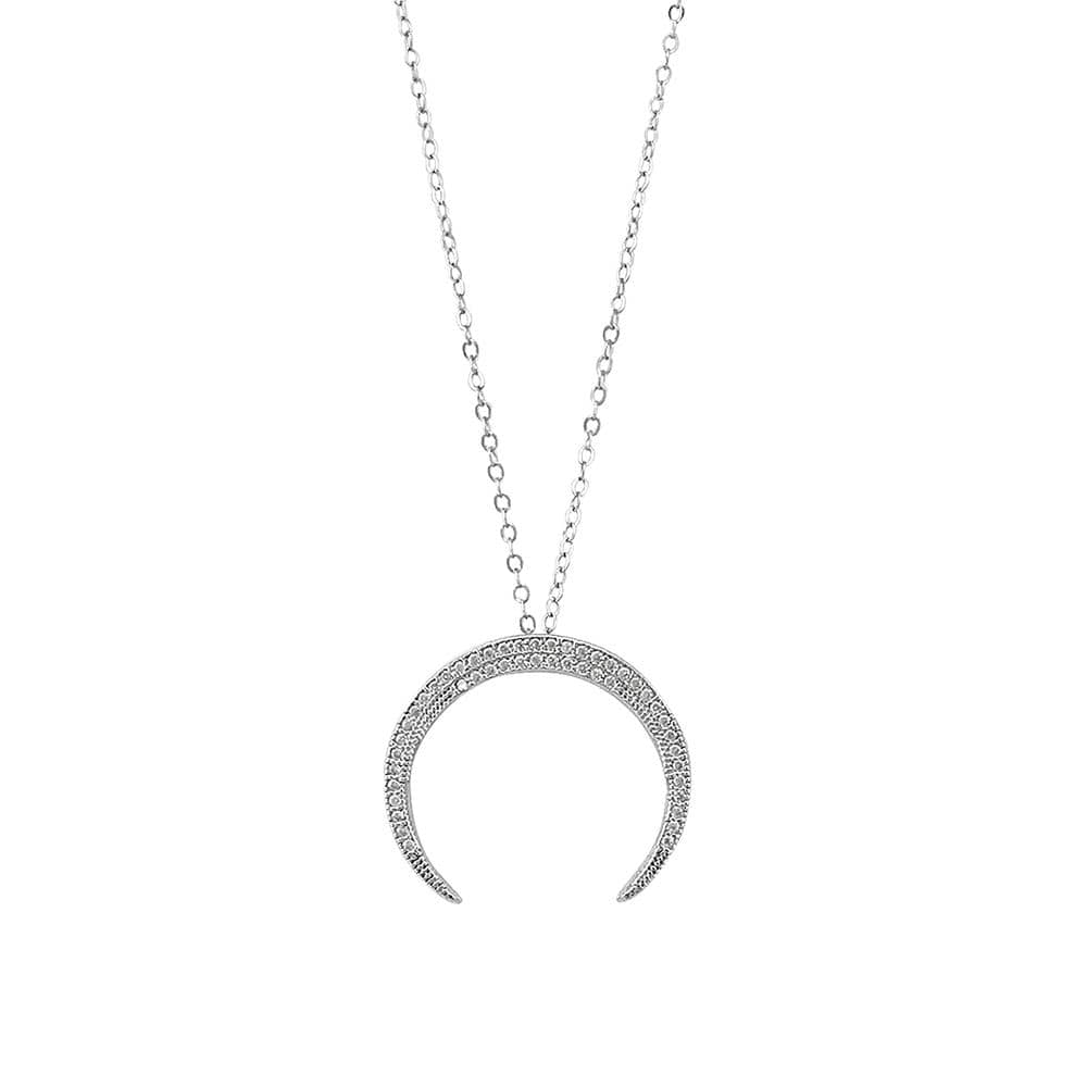 Platinum Finish Sterling Silver Micropave Crescent Moon Pendant - BL2223N-D-Kelly Waters-Renee Taylor Gallery