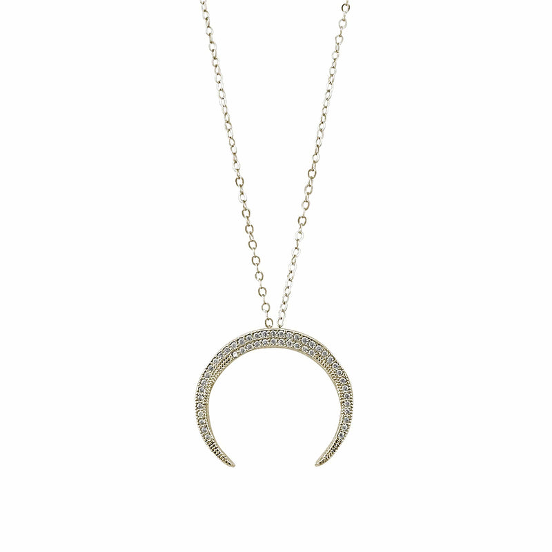 Gold Vermeil Finish Sterling Silver Micropave Crescent Moon Pendant - BL2223NG-D-Kelly Waters-Renee Taylor Gallery