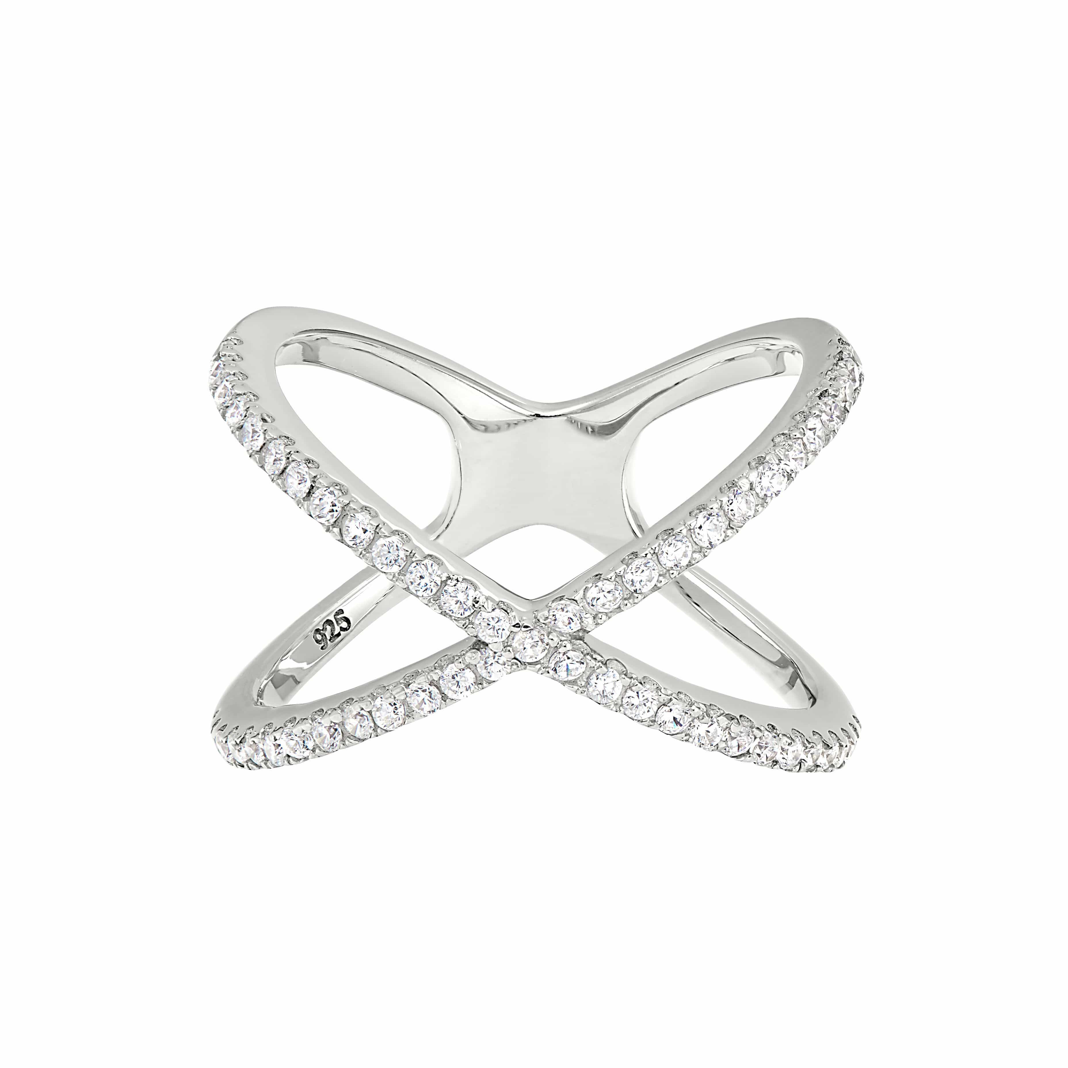 Platinum Finish Sterling Silver Micropave Criss-Cross Ring - BL2236R-Kelly Waters-Renee Taylor Gallery