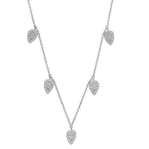 Platinum Finish Sterling Silver Micropave 5 Floating Leaves Necklace - BL2237N