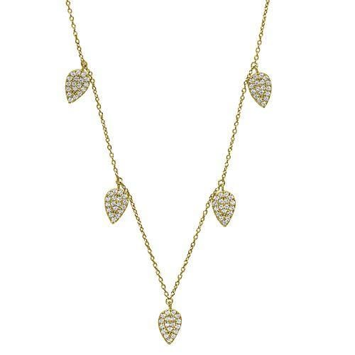 Gold Vermeil Finish Sterling Silver Micropave 5 Floating Leaves Necklace - BL2237NG