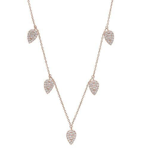 Rose Gold Vermeil Finish Sterling Silver Micropave 5 Floating Leaves Necklace - BL2237NRG-Kelly Waters-Renee Taylor Gallery