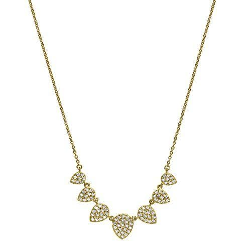 Gold Vermeil & Platinum Finish Sterling Silver Micropave 7 Leaves Necklace - BL2238NG-Kelly Waters-Renee Taylor Gallery