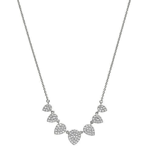 Platinum Finish Sterling Silver Micropave 7 Leaves Necklace - BL2238N-Kelly Waters-Renee Taylor Gallery