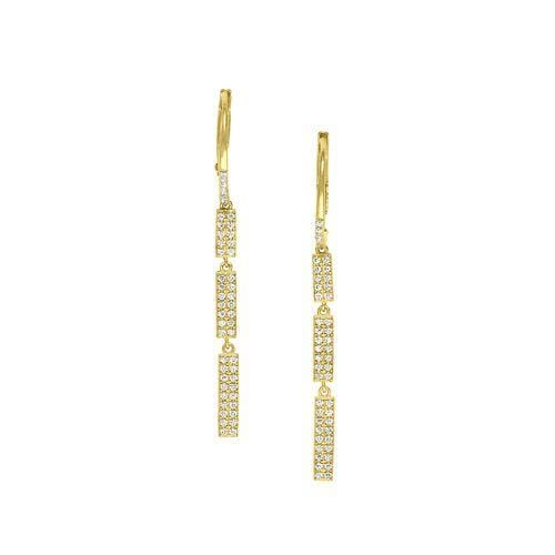 Gold Vermeil Finish Sterling Silver Micropave Three Bar Earrings - BL2240EG-Kelly Waters-Renee Taylor Gallery