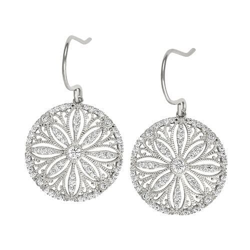 Platinum Finish Sterling Silver Micropave Vintage Earrings - BL2241E-Kelly Waters-Renee Taylor Gallery