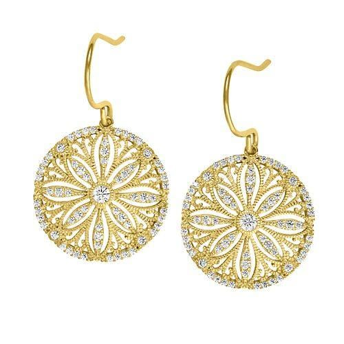 Gold Vermeil Finish Sterling Silver Micropave Vintage Earrings  - BL2241EG - Kelly Waters