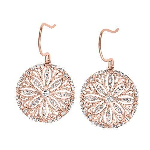 Rose Gold Vermeil Finish Sterling Silver Micropave Vintage Earrings - BL2241ERG-Kelly Waters-Renee Taylor Gallery