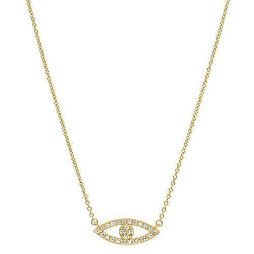 Gold Vermeil Finish Sterling Silver Micropave Evil Eye Necklace - BL2246NG-Kelly Waters-Renee Taylor Gallery