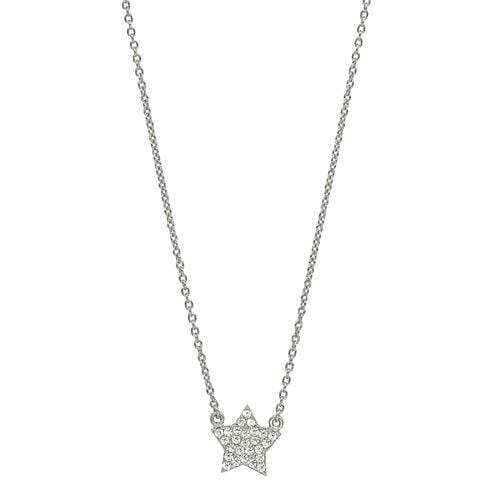 Platinum Finish Sterling Silver Micropave Star Necklace - BL2250N-Kelly Waters-Renee Taylor Gallery