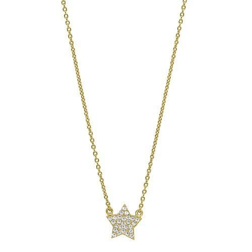 Gold Vermeil Finish Sterling Silver Micropave Star Necklace - BL2250NG-Kelly Waters-Renee Taylor Gallery