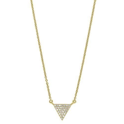 Gold Vermeil Finish Sterling Silver Micropave Triangle Necklace - BL2251NG-Kelly Waters-Renee Taylor Gallery
