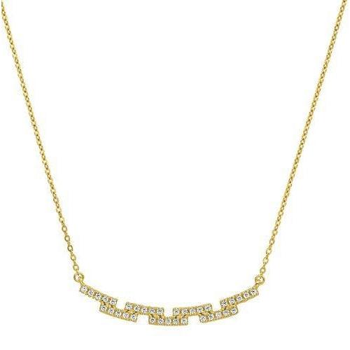 Gold Vermeil Finish Sterling Silver Micropave Staggered Bar Necklace - BL2253NG-Kelly Waters-Renee Taylor Gallery