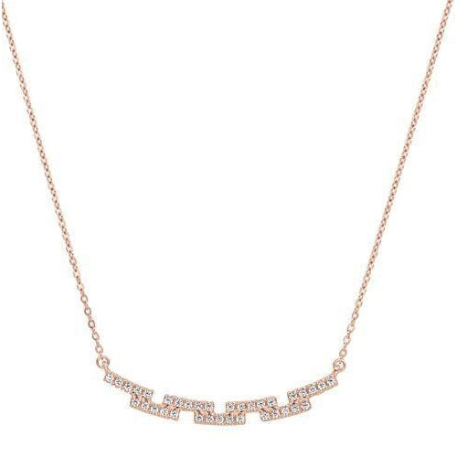 Rose Gold Vermeil Finish Sterling Silver Micropave Staggered Bar Necklace - BL2253NRG-Kelly Waters-Renee Taylor Gallery