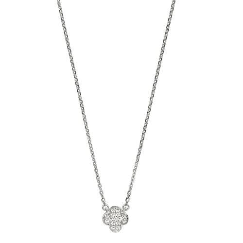 Platinum Finish Sterling Silver Micropave Small Clover Pendant - BL2254N
