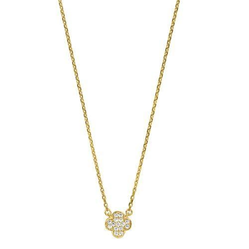 Gold Vermeil Finish Sterling Silver Micropave Small Clover Pendant - BL2254NG-Kelly Waters-Renee Taylor Gallery