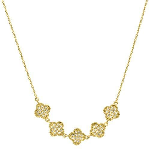 Gold Vermeil Finish Sterling Silver Micropave Five Clover Necklace - BL2255NG-Kelly Waters-Renee Taylor Gallery