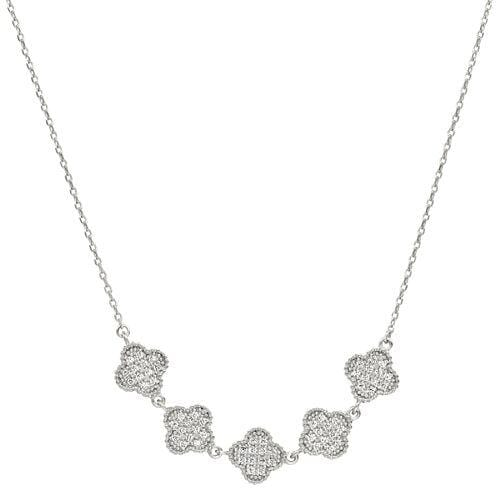 Platinum Finish Sterling Silver Micropave Five Clover Necklace - BL2255N-Kelly Waters-Renee Taylor Gallery