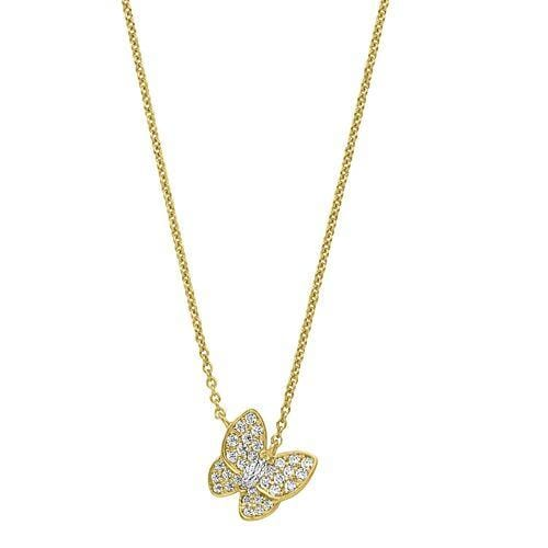 Gold Vermeil Finish Sterling Silver Micropave Butterfly Necklace - BL2257NG-Kelly Waters-Renee Taylor Gallery