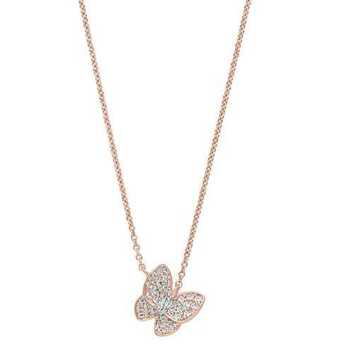 Rose Gold Vermeil Finish Sterling Silver Micropave Butterfly Necklace - BL2257NRG-Kelly Waters-Renee Taylor Gallery