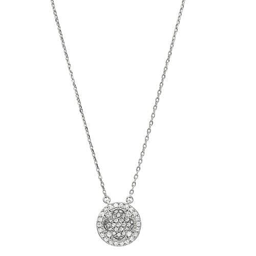 Platinum Finish Sterling Silver Micropave Inside Out Necklace - BL2260N