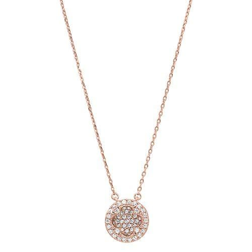Rose Gold Vermeil Finish Sterling Silver Micropave Inside Out Necklace - BL2260NRG